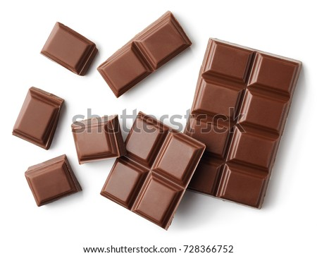 Milk chocolate pieces isolated on white background from top view #728366752
