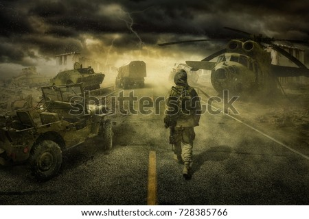 "Fantasies on the theme of the work of Arkady and Boris Strugatsky ""Roadside Picnic "". Title - Stalker Zone (No one) Royalty-Free Stock Photo #728385766"
