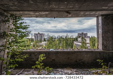 Inside the hotel in abandoned Pripyat city in Chernobyl Exclusion Zone, Ukraine #728433472