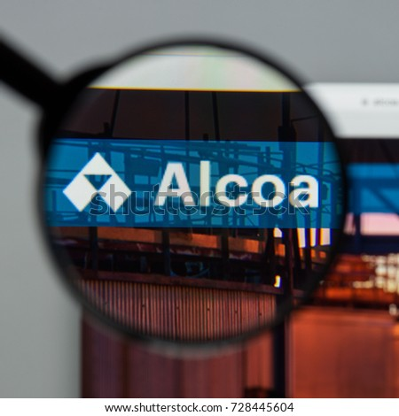 Milan, Italy - August 10, 2017: Alcoa website homepage. It  is an American industrial corporation. Alcoa (from Aluminum Company of America) logo visible. #728445604