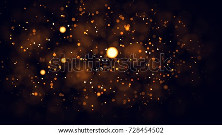 Gold abstract bokeh background. real backlit dust particles with real lens flare. glitter lights . Abstract Festivevintage lights defocused. Christmas and New Year feast. #728454502