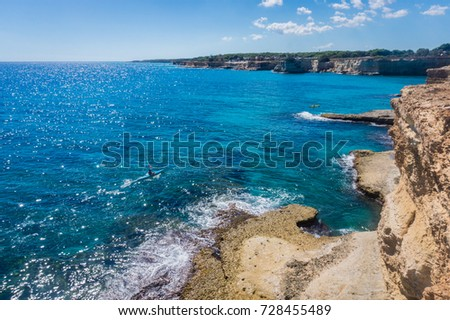 Torre Sant Andrea, Salento sea coast, Apulia, Italy. Faraglioni Melendugno. Seascape with cliffs and rocky arch in Puglia. Beautiful blue saturated water. #728455489