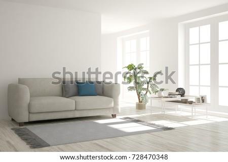 Idea of white minimalist room with sofa. Scandinavian interior design. 3D illustration #728470348