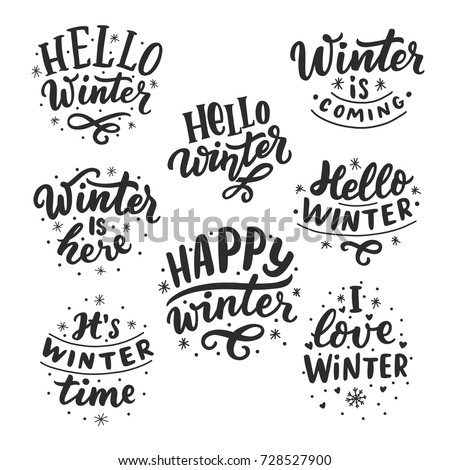 Hand drawn lettering set with phrases hello winter, love winter, it's winter time, winter coming for card, print, overlay, decor, poster, banner. Royalty-Free Stock Photo #728527900