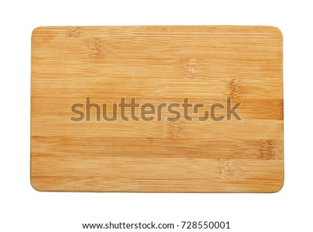 Close up of one small rectangular shaped brown, bamboo wood cutting board isolated on white background #728550001
