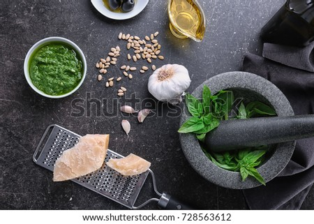 Ingredients for basil pesto sauce on grey background #728563612