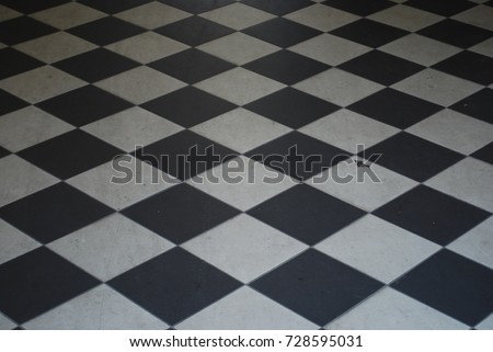 Black And White Checkered Tile Floor - Background