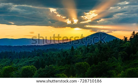Beautiful sunset in mountains  #728710186