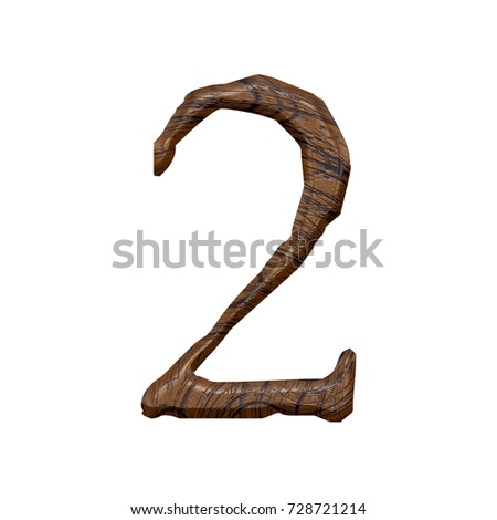 Wood grain textured number two 2 in a 3D illustration with a jagged edge font and a brown wooden semi glossy surface texture isolated on a white background with clipping path. #728721214