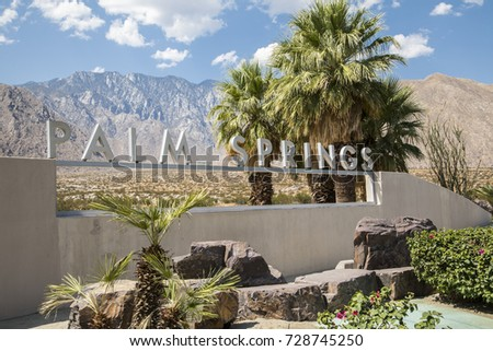 Palm Springs, California, USA - September 06 2017: Palm Springs sign by the side of the highway on approach to the city.  #728745250