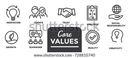 Core Values - Mission, integrity value icon set with vision, honesty, passion, and collaboration as the goal / focus #728810740
