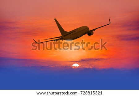 Airplane in the sky at sunrise #728815321