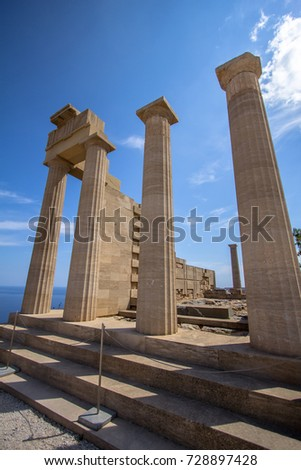 Temple of Athena Lindia in the Acropolis. Rhodes, Greece, Europe #728897428