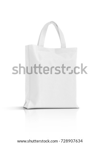 blank white fabric canvas bag for shopping isolated on white background Royalty-Free Stock Photo #728907634