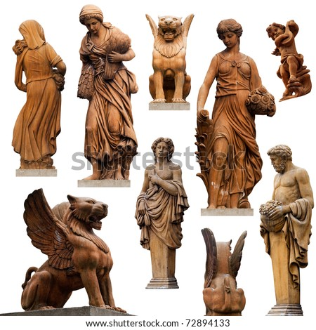 Collection of statues isolated on white background #72894133