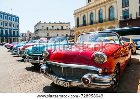 Havana Cuba Classic Cars Royalty-Free Stock Photo #728958049
