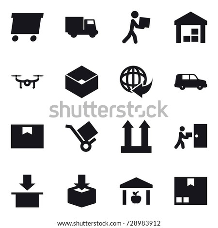 16 vector icon set : delivery, truck, courier, warehouse, drone, box, package #728983912