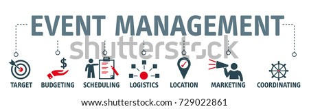 Banner event management concept vector illustration with icons Royalty-Free Stock Photo #729022861