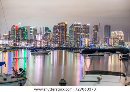 SAN DIEGO - JULY 29, 2017: Night skyline of San Diego from city port. #729060373