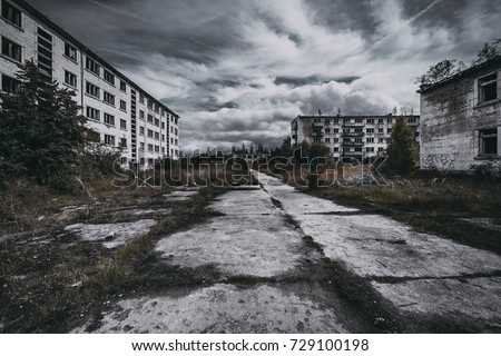 Abandoned ghost town Skrunda, Latvia. Abandoned ex Soviet buildings. Ruins of city. Ex Soviet legacy. World after nuclear war. No humans. #729100198