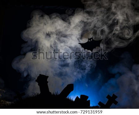 Halloween, bats and dark castle on a blue background of the moon, illustration #729131959