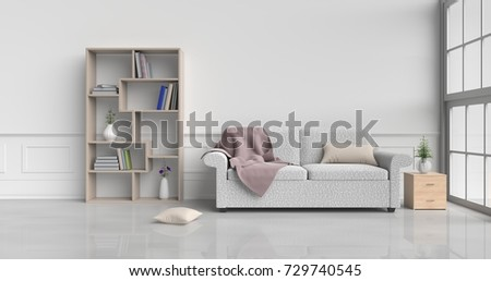 White room decorated with cream sofa,tree in glass vase, cream pillows, Wood bedside table, Bookcase, Blanket, Window, Cream carpet White cement wall it is pattern, white cement floor. 3d rendering. #729740545