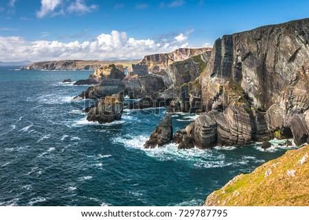 Dramatic landscape at Mizen Head on Atlantic coast, county Cork, Ireland Royalty-Free Stock Photo #729787795