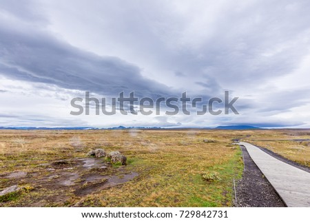 Valley with mountains and Glacier in Iceland #729842731