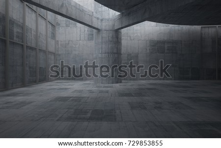 Abstract  concrete interior multilevel public space with window. 3D illustration and rendering. #729853855
