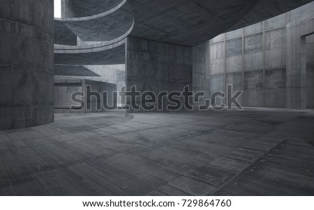 Abstract  concrete interior multilevel public space with window. 3D illustration and rendering. #729864760
