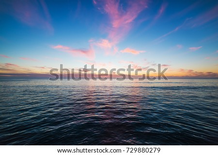 Colorful sky over Pacific Beach at sunset. California, USA #729880279