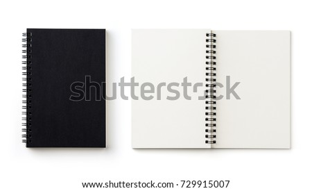 Business concept - Top view collection of black spiral notebook on white background desk for mockup #729915007