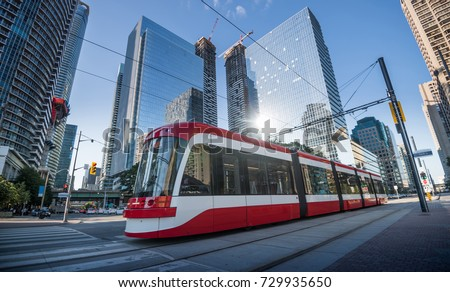 Street Cars during in Toronto city, Canada Royalty-Free Stock Photo #729935650