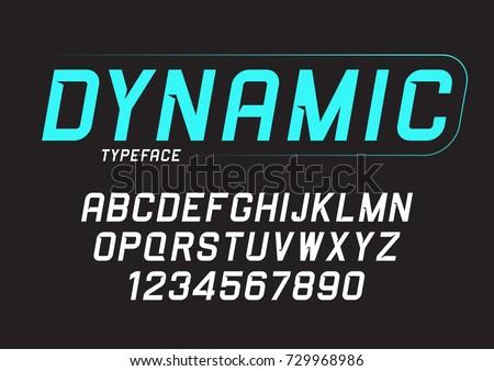 Vector dynamic bold italic font design, alphabet, typeface, typography.
