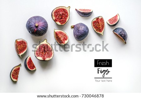 Fresh figs.Food Photo. Creative diagram of a whole and sliced â??â??figs on a white background with space for text. View from above. Copy space #730046878