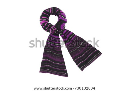 Striped purple ladies scarf isolated on white background #730102834