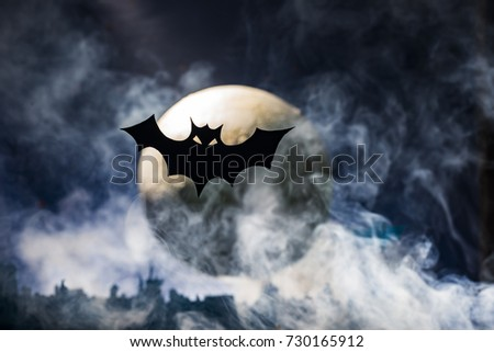 Night background of Halloween with bats flying in the moonlight #730165912