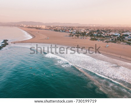 Fresh sunrise morning at the Venice beach in Los Angeles. Aerial view from above. USA #730199719