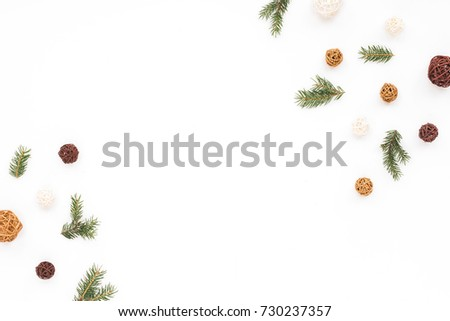 Christmas decorations on white background, flat lay, top view, copy space #730237357