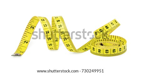 Yellow measuring tape isolated on white background. #730249951