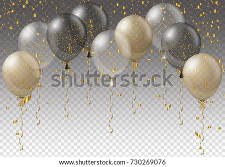 Celebration background template with balloons, confetti and ribbons on transparent background. Vector illustration.