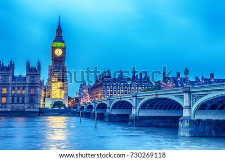 London, the United Kingdom: the Palace of Westminster with Big Ben, Elizabeth Tower, viewed from across the River Thames at night #730269118