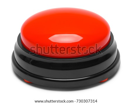 Large Red Push Button Isolated on a White Background. #730307314