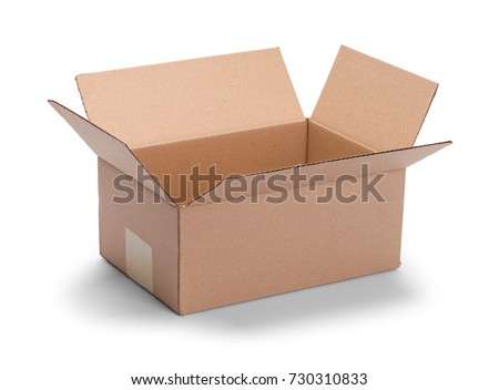 Long Brown Open Cardboard Box Isolated on a White Background. #730310833