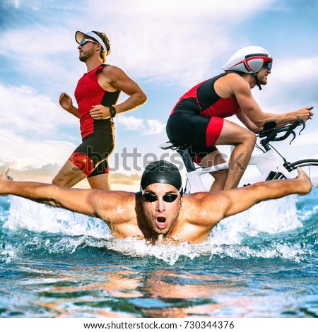 Triathlon swim bike run triathlete man training for ironman race concept. Three pictures composite of fitness athlete running, biking, and swimming in ocean. Professional cyclist, runner, swimmer. #730344376
