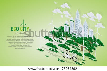 Green eco city and life with pop-up concept. Vector illustration in flat design and isometric paper cut  style. #730348621