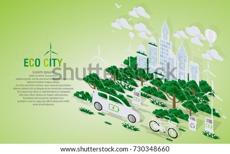 Green eco city and life with pop-up concept. Vector illustration in flat design and isometric paper cut  style. #730348660