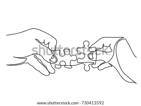 continuous line drawing of hands solving jigsaw puzzle Royalty-Free Stock Photo #730413592