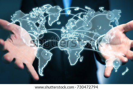 Businessman on blurred background holding world connection sketch #730472794