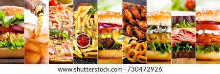 collage of various fast food products and drinks #730472926